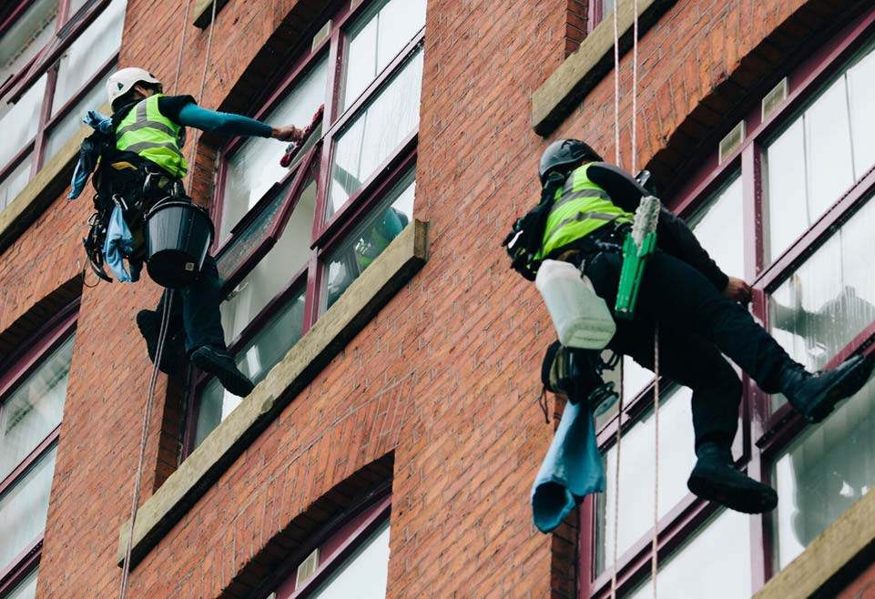 Abseil/Rope Access Window Cleaning in Manchester and the Northwest - HCS Cleaning Services